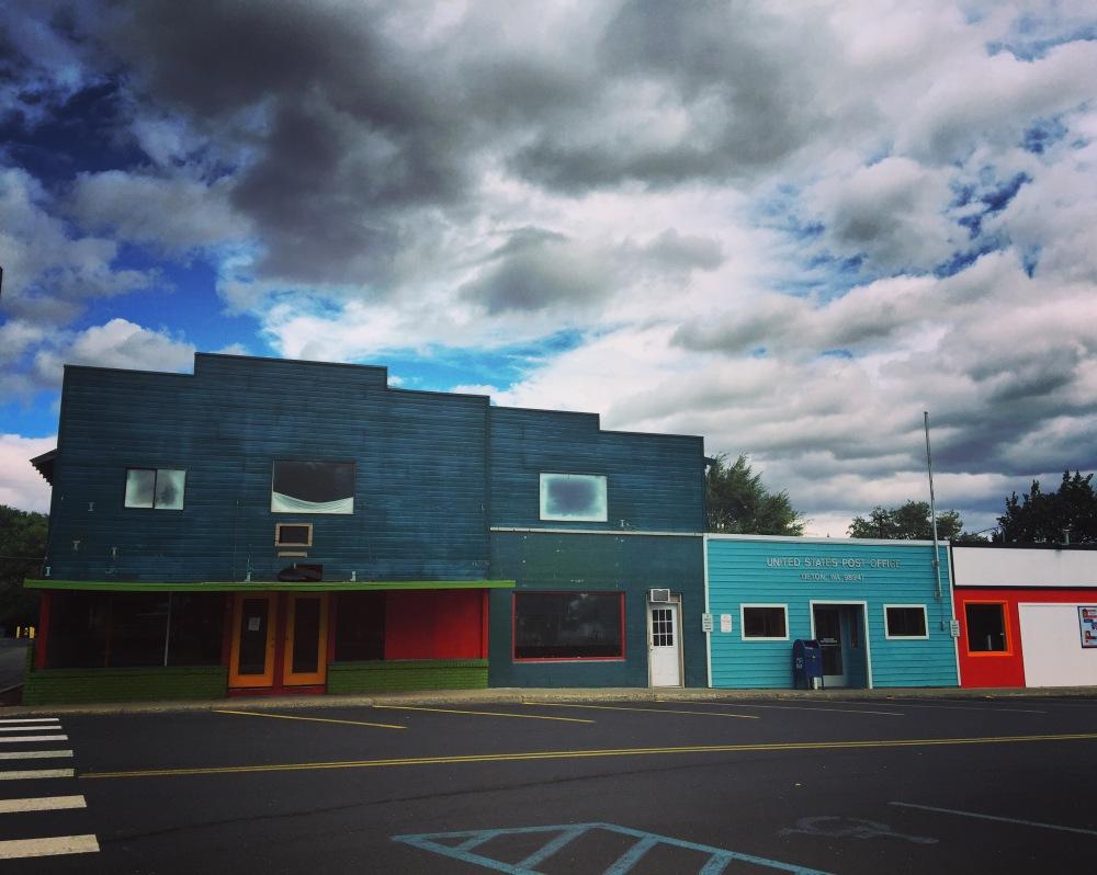 Rainbow of empty storefronts in Tieton WA